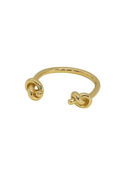 Art006 [gold] 925 Sterling Silver Hollow knot Vintage Band Ring